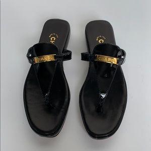 CHANEL Black Patent Leather Gold Logo Sandal
